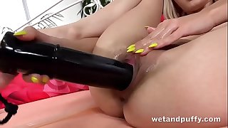 Wetandpuffy - Russian ash-blonde Lola Shine masturbates with a huge captured dildo