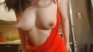 Young mom shows her big natural milky hooters
