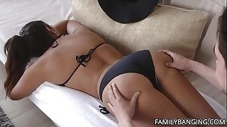 Huge Ass MILF With Huge Natural Tits Gets Her Pussy Massaged Before Getting Nailed Hardcore By Her Stepson