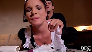 Petite maid Anita B. humiliated & arse fucked by her manager until she orgasms