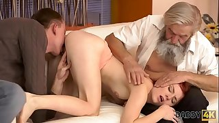 DADDY4K. Dirty boy thumbs GF for cheating on him with nasty daddy