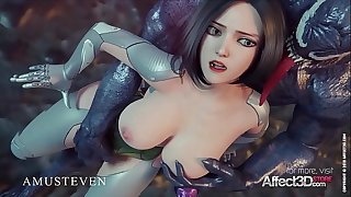 Big Tits Angelita nailed firm by a monster in a 3d animation