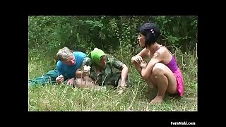 Granny threesome in the woods