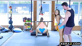 Gym babes with stacked bods 3 way with a trainer