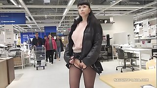 Brief micro-skirt and sheer blouse for onanism and public upskirt